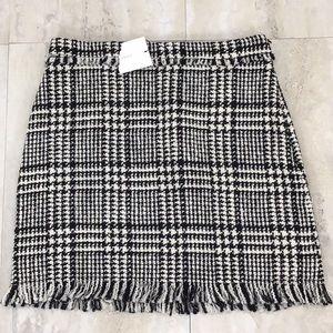 Zara Skirts - Zara Plaid Tweed Mini Skirt Fringe